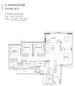 One-Holland-Village-Floor-Plan-Quincy-type-C3-Singapore