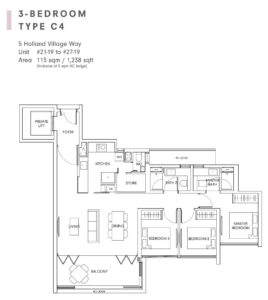 One-Holland-Village-Floor-Plan-Quincy-type-C4-Singapore