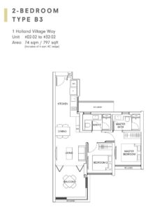 One-Holland-Village-Floor-Plan-type -B3-Singapore